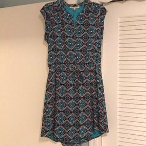 👗Slip on blue dress with short sleeves and tie